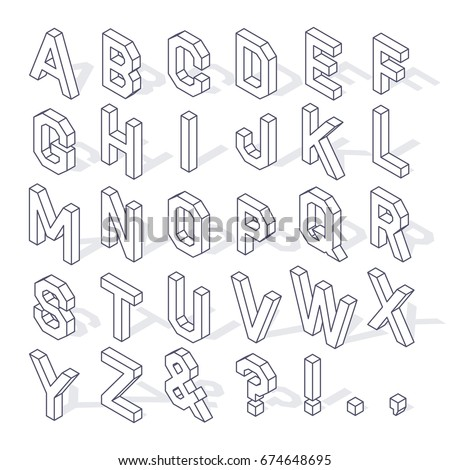 Isometric Capital Letters Of The Latin Alphabet And Symbols With Shadow Editable Stroke Isolated