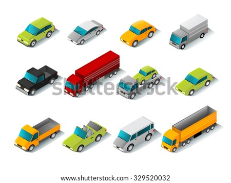 Isometric car icons set with 3d vans and trucks isolated vector illustration - stock vector