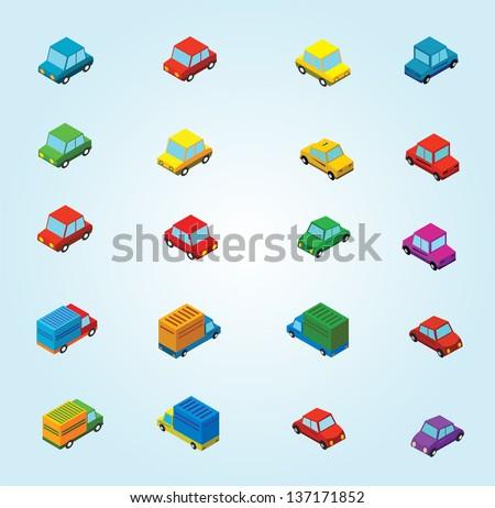 isometric cars - stock vector