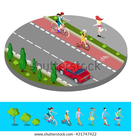 Isometric City. Bike Path with Bicyclist. Footpath with Running Woman. Vector illustration - stock vector