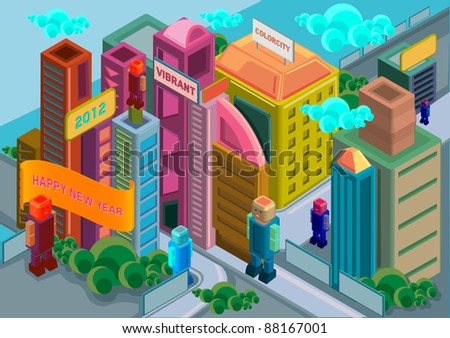 isometric city building - stock vector