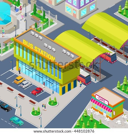 Isometric City Bus Station with Buses, Parking Area, Restaurant and Park. Vector illustration