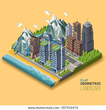 Isometric city concept, part of the land, sea and the beach, the ocean, mountains,. 3D vector illustration with buildings. - stock vector