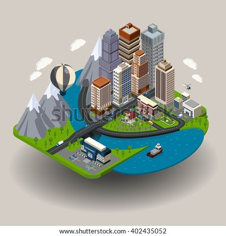 Isometric city icon with buildings street skyscrapers and other ordinary elements like school church clinic vector illustration - stock vector
