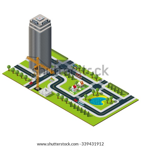 Isometric city map. Bank building in downtown. Yellow crane illustration. Isometric lake and houses in suburb. Isometric city illustration.