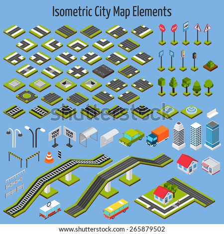 Isometric city map road and house construction elements set isolated vector illustration - stock vector