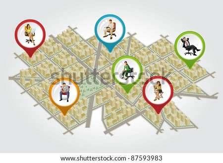 Isometric city map with colorful pointers with people on chair. Vector arrow label. - stock vector