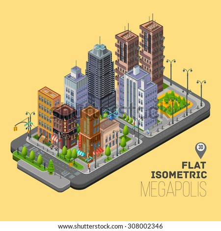 Isometric city, megapolis concept with 3d office buildings, cafes, store, skyscraper, street, lights, traffic lights and signs. Vector urban landscape illustration. - stock vector
