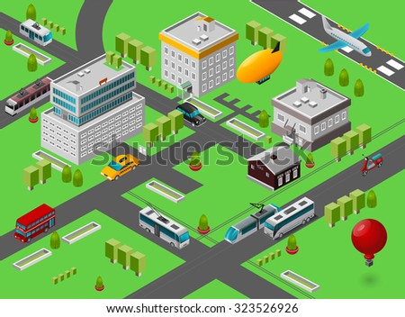 Isometric city street view with public transport symbols vector illustration