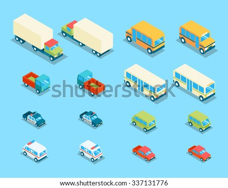 Isometric city transport 3d vector icons set. Transportation car, auto and automobile, van and police illustration - stock vector