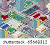 isometric city (vector) - stock vector