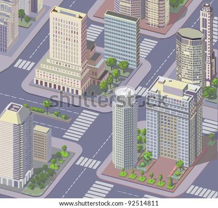 Isometric city view - stock vector