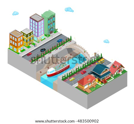 Isometric City View with Buildings Bridge Embankment and River. Flat 3d Vector illustration
