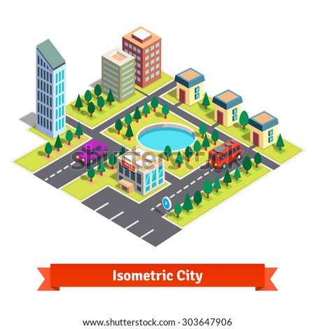 Isometric city with shopping mall, skyscrapers, residential buildings, park with pond and transportation. Flat style vector illustration isolated on white background. - stock vector
