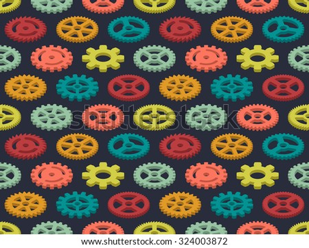 Isometric colored gears seamless pattern against the black background. The layout is fully editable - stock vector
