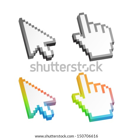 Isometric colorful arrow cursor pack isolated on white. Vector illustration. - stock vector