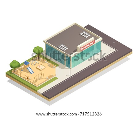 Vector Isometric Fast Food Cafe Stock Vector 108828794