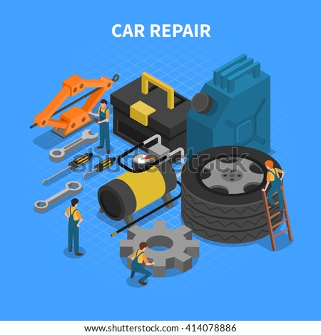 Isometric concept with tools and equipment used in car repair with figures of workers vector illustration - stock vector