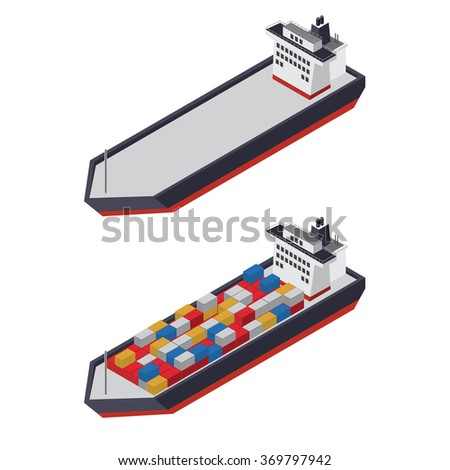 Isometric container ship - stock vector