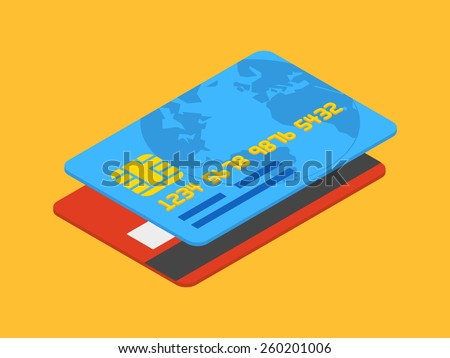 Isometric credit card against the orange background - stock vector