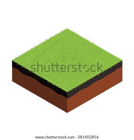 isometric cross section of ground with grass. Vector illustration. - stock vector