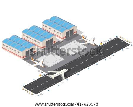 Isometric 3 D Airstrip City International Airport Stock Photo Photo