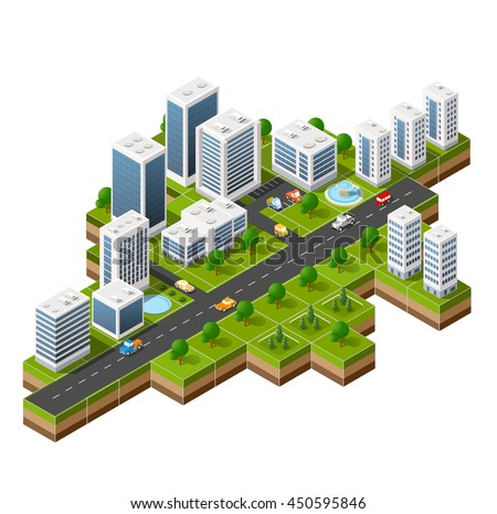 Isometric 3D cityscape view of the top of the house and street trees