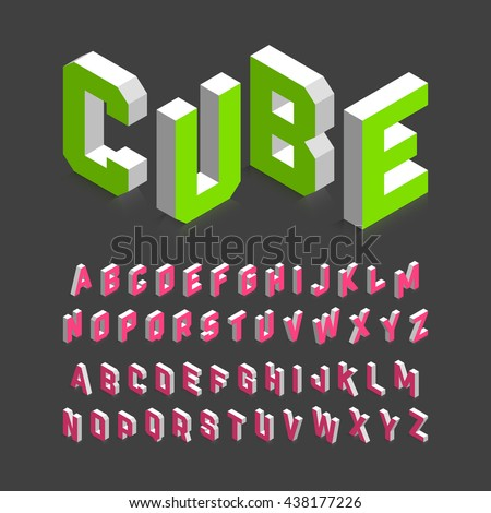 Isometric 3d font. Three-dimensional alphabet. Vector illustration. - stock vector