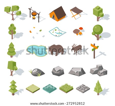 Isometric 3d forest camping elements for landscape design. Tent and deer, camp and bear, butterflies and mushrooms, map and pond. Vector illustration - stock vector