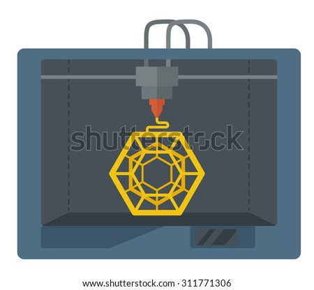 Isometric 3D Printer.  A Contemporary style. Vector flat design illustration isolated white background. Square layout - stock vector