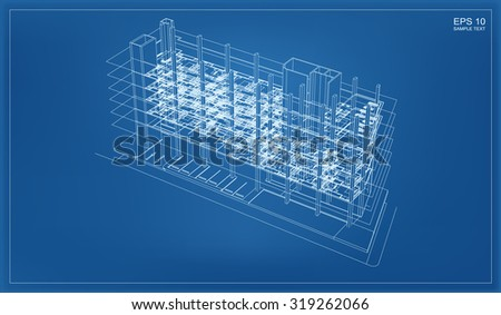 Isometric 3D render of building wireframe structure. Vector construction graphic idea. - stock vector