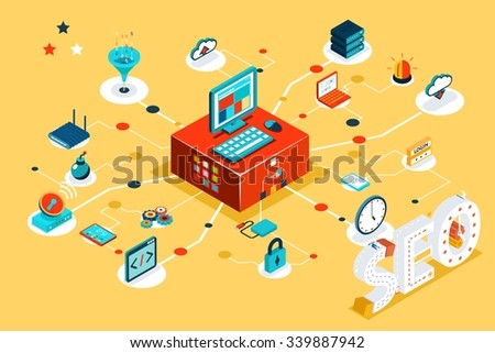 Isometric 3d seo infographic concept. Search data, online optimization, research information, project and keyword, link database, cloud filter. Vector illustration - stock vector