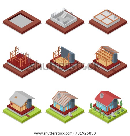 isometric 3d set construction stages countryside stock