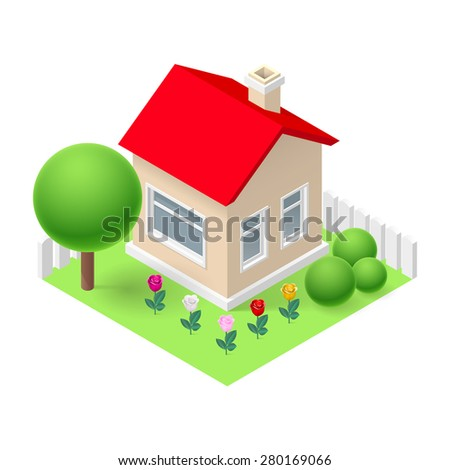 Isometric 3d small home fenced with flowers and trees - stock vector