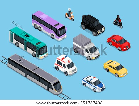 Isometric 3d transport set flat design. Car vehicle, transportation traffic, truck van, auto cargo, bus and automobile, police and motorcycle illustration. Car icon. Transport icon set - stock vector