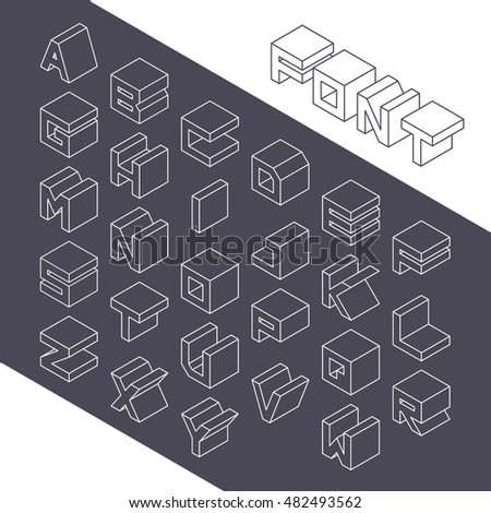 Isometric 3d type font set. Vector illustration in line style