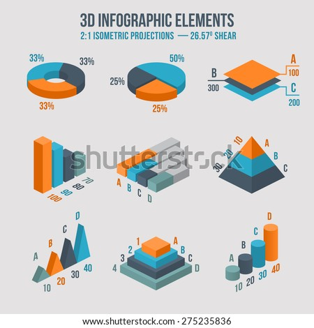 Isometric 3d vector charts. Pie chart and donut chart, layers graphs and pyramid diagram. Infographic presentation, design data finance. Vector illustration - stock vector