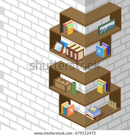 Isometric 3D Vector Illustration Bookshelf With Piles Of Books Design Interior For The Arrangement