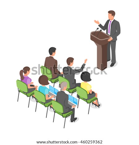 Isometric 3d vector illustration of business presentation or political conference. - stock vector