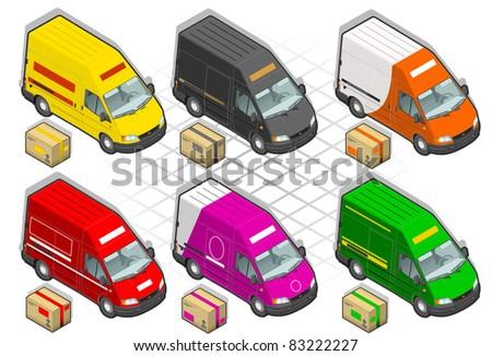 Isometric delivery van - stock vector