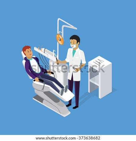 Isometric dentist office during reception patient. Dentistry and doctors office, dentist and patient, dentist chair, dental and medical, health oral, mouth healthcare illustration - stock vector