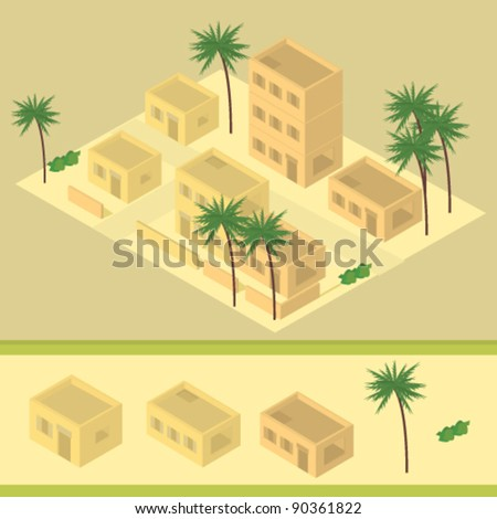 isometric desert building illustration - stock vector