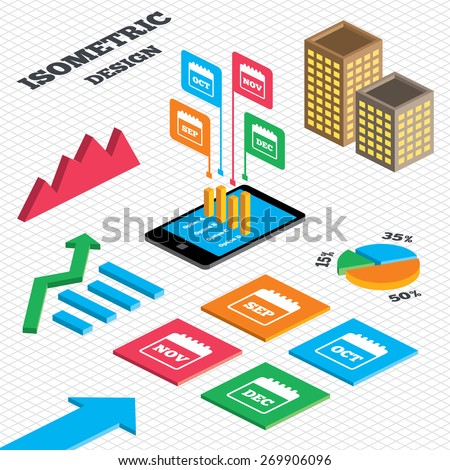Isometric design. Graph and pie chart. Calendar icons. September, November, October and December month symbols. Date or event reminder sign. Tall city buildings with windows. Vector