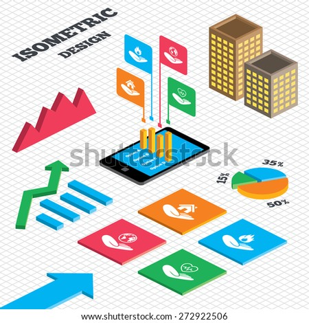 Isometric design. Graph and pie chart. Helping hands icons. Health and travel trip insurance symbols. Home house or real estate sign. Fire protection. Tall city buildings with windows. Vector - stock vector