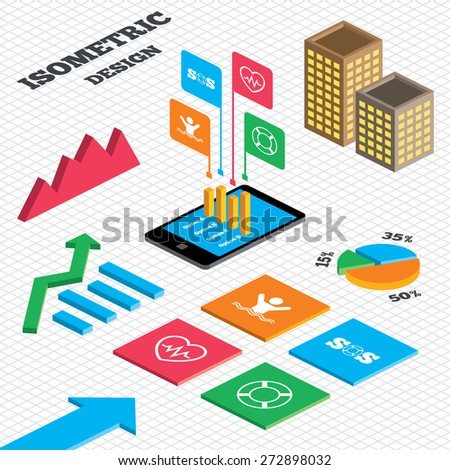 Isometric design. Graph and pie chart. SOS lifebuoy icon. Heartbeat cardiogram symbol. Swimming sign. Man drowns. Tall city buildings with windows. Vector - stock vector