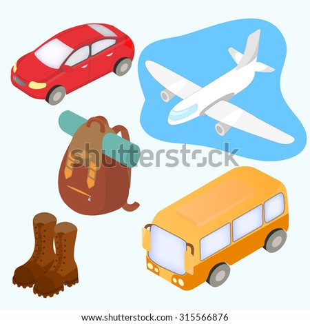 Isometric design icons set of traveling, tourism and journey objects. Travel by car, plane, bus and hiking concept. - stock vector