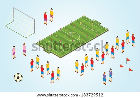Isometric detail Football players in stadium - stock vector
