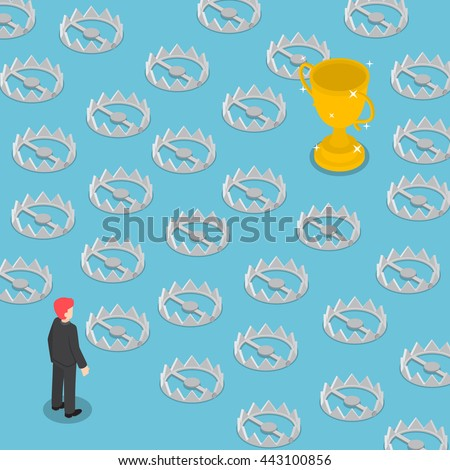 Isometric difficult path to success full of traps, business obstacle concept - stock vector