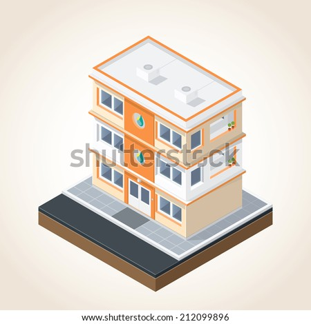 Isometric drawing image in terms of building - stock vector