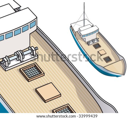 Isometric drawing of fisher boat and trawler for spiny lobster - stock vector